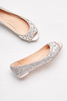 choose crystal ballet flats for prom for a long night of dancing! | Glitter peep-toe prom flats with gem embellishment by Jewel Badgley Mischka available at David's Bridal