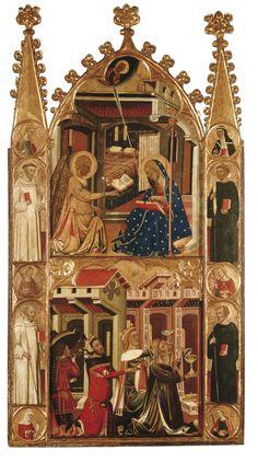 Anunciació i reis de l'Epifania. Ferrer i Arnau Bassa. Cap a 1347-1360. La representació  més característica del cavall és la que explica el viatge dels tres Reis Mags, que tot cavalcant van a adorar el nen Jesús.