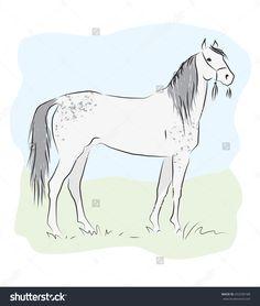 Silhouette Of Grey Horse Stock Vector Illustration 453290188 : Shutterstock