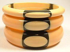 Trio Vintage Belle Kogan BAKELITE DOT Bangle Bracelets