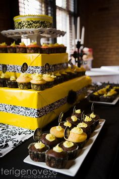 "Photo 26 of 45: Black Damask and Yellow / Baby Shower/Sip & See ""Black Damask and Yellow Shower"" 