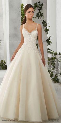 Madeline Gardner 2016 Wedding Dress Dress Rings, Beige Wedding Dress, Wedding Dress Straps, Wedding Dress Organza, A-line Wedding Dresses, Tulle Wedding, Wedding Day, Wedding Engagement, Nyc Wedding Venues