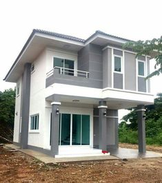 This house consists of 4 bedrooms, 3 bathrooms, with a budget of million baht. Two Story House Design, 2 Storey House Design, Best Modern House Design, Bungalow House Design, House Front Design, Minimalist House Design, House Layout Plans, House Layouts, Philippines House Design