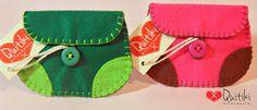 Porta Moedas retangulares verde e rosa