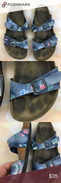 Birkenstocks arizona floral slide sandals Significant wear, see photos for details Birkenstock Shoes