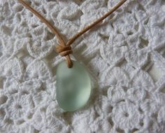 recycled glass sea glass beach glass natural leather cord