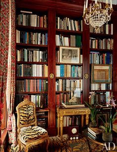 Mahogany bookcases are paired with tiger-striped textiles in the luxe library of Sylvain Lévy-Alban and Charlie Garnett's Paris apartment.