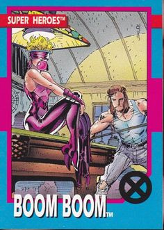 """Boom Boom, from """"Marvel Super Heroes"""" trading cards Marvel Comic Character, Comic Book Characters, Marvel Characters, Comic Books Art, Comic Art, Marvel Comics Superheroes, Marvel X, Disney Marvel, Marvel Women"""