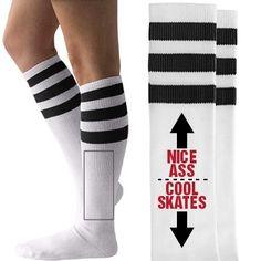 Roller Derby Bragger Unisex American Apparel Striped Knee-High Socks #rollerderby