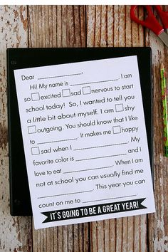 About Me Printable L
