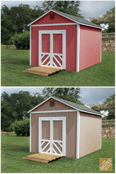 Check out The Home Depot Color Center for tons of exterior Behr paint options! An update to your outdoor shed makes for a great makeover project.