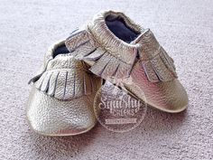 Gold Moccasins, trendy baby shoes