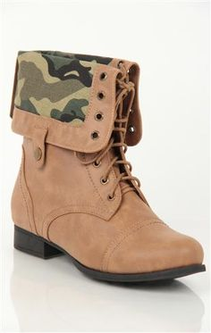 Deb Shops flat #combat #boot with printed foldover cuff  $42.90