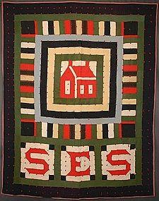 Wool Schoolhouse Quilt: Circa 1910. initials SES