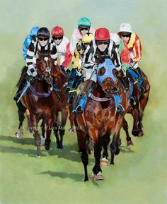 Leader of the Pack by Lisa Miller oil on board 18 x 22 inches www.thepaintedhorse.co.uk Ffos Las Racecourse, AP McCoy £1150