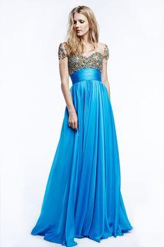 Reem-Acra resort-2015 aqua dress