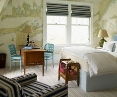Wonderful color combination and love the maps used as wallpaper!