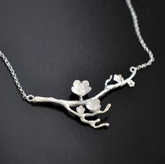 Plata de Ley 925 Collar de flor de cerezo Rama Flores Collares y Colgantes de Joyería de Moda de Verano para las mujeres Joyas De Plata
