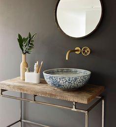London basin company handcrafted porcelain sink set in vintage wood Bathroom Sink Bowls, Bathroom Toilets, Small Bathroom, Bathroom Pink, Bowl Sink, Bathroom Modern, Master Bathrooms, Bathroom Mirrors, Kitchen Sink