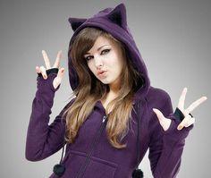 Orejas de gato con capucha Kitty lana Animal violeta larga Kawaii