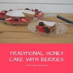 Traditional Honey Cake With Berries Flavored Whipped Cream, Honey Cake, Vanilla Yogurt, Plain Yogurt, Moist Cakes, Serving Platters, Cake Pans, Easy Desserts, Spice Things Up