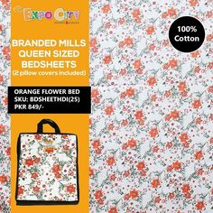 Product: Orange Flower Bed Sheet (100% Cotton Branded Mills Queen Sized Printed Bedsheets)  Price: Rs. 849  #home #bedding #pretty #traditional #printed #cotton #queenbed #style #printedbedsheet #pakistan #karachi #lahore #islamabad #homeaccessories #pillowcovers #pakistanshopping #expocity #cashondelivery #onlineshopping #alloverpakistan #easyshop  #bedsheets