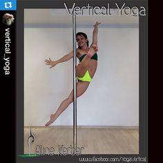Not sure how this move is possible, but it's so cool! Repost @vertical_yoga ・・・ Open up to new possibilities! #AK #DAKINI #DakiniSplit #NewChallenge #VerticalYoga #AlineK #AlineKerber #FullControl #BeLimitless #AKcreation #MoveCreationTechnique #BadKittyPride #SimplePole #ComfortablePole
