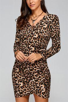 $20.08 Fall Leopard Print Bodycon Dress