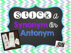 This packet targets synonyms and antonyms. Instead of simply matching pairs, your students will be sticking the match onto a base card. Synonym cards have a purple outline and antonym cards have a blue outline. The base cards also have a little A or S in the left hand corner for easy reference.Directions: Print the cards on pg. 3-14, cut out, and laminate.