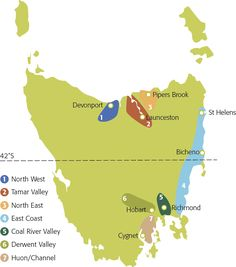 tasmania wine map - Google Search