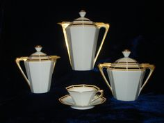 Art Deco Chabrol & Poirier Limoges coffee set in the Carmen shape - 1930s France