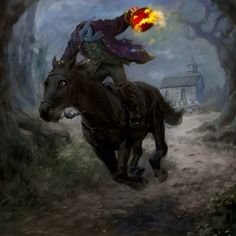 """If you didn't already know, """"The Legend of Sleepy Hollow"""" is my favorite Halloween story. (The Halloween Tree being my second favorite book) And The Headless Horseman, my favorite ghost. Happy Halloween, Image Halloween, Samhain Halloween, Halloween Artwork, Halloween Pictures, Holidays Halloween, Sleepy Hollow Halloween, Halloween Rocks, Halloween Stuff"""