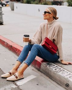 Tan sweater (tts - XS) Levi's ripped straight leg jeans (tts - Gucci canvas mules (tts - vintage red Chanel handbag (linked similar) Casual Outfits, Fashion Outfits, Womens Fashion, Fashion Trends, 90s Fashion, Boho Fashion, Fashion Online, Fall Winter Outfits, Autumn Winter Fashion