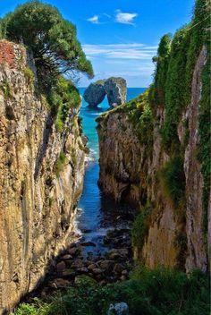La Canalina, a small inlet in the Llanes coast, Asturias, Spain