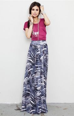 Torn  Madison Long Skirt - tucked in tee with long necklace