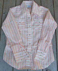 80187d0f Vintage 70s Turtle Bax Western Shirt Orange Flowers Pearl Buttons  Rockabilly 16 #TurtleBax Vintage Tops