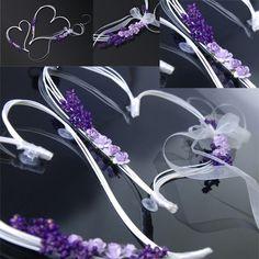 Svatební dekorace, dvě ratanová srdce 30 cm a 19 cm - fialová