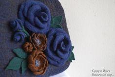 bag with flowers Bag felted Blue roses Felt bag от FeltSukrukho