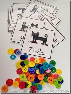 Pete the Cat math center. Subtraction Kindergarten, Subtraction Activities, Math Classroom, Kindergarten Activities, Fun Math, Math Games, Preschool Activities, Preschool Playground, Multiplication Strategies