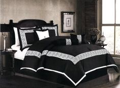 """7 Pcs Embroidery Oriental Square Comforter Set Bed In A Bag Queen Black/White by AHF. $79.35. 1 Pc Neckroll. 1 Pc Square Cushion , 1 Pc Breakfast Pillow. 2 Pcs Standard Pillow Shams (20"""" x 28""""). 1 Pc Bedskirt (60"""" x 80"""" + 14"""" Drop). 1 Pc Queen Size Comforter (86"""" x 86""""). 7 Pcs Luxury Comforter Set  This is a very attractive comforter set.  This comforter set will give your room a new look!       Style#: Square     Condition: Brand New     Size: Queen     Design: Oriental S..."""