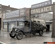 A 1927 or earlier Stewart truck, equipped with two-wheel brakes, heading out for a delivery of the product from Morrow's Coal and Ice Company located at 1025 Main Street in Vancouver. Classic Pickup Trucks, Old Pickup Trucks, Chevy Trucks, Automobile, Colorized Photos, Canadian History, Local History, Ford, Canada