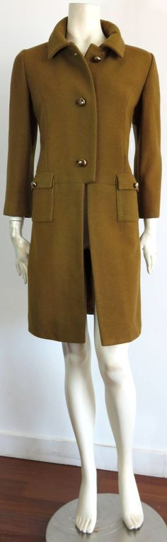 1950's FONTANA ROMA Olive wool coat | From a collection of rare vintage coats and outerwear at https://www.1stdibs.com/fashion/clothing/coats-outerwear/ ...Le Sorelle Fontana