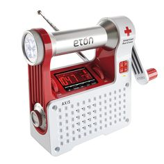 Can be powered from 3 sources—includes 4-LED hand crank flashlight & phone charger.