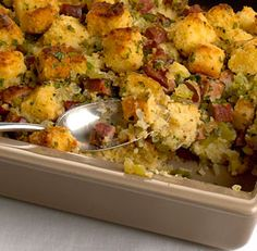 Cajun Cornbread Stuffing - Recipe - FineCooking Bell peppers, andouille sausage, and cayenne give traditional cornbread stuffing a bit of Louisiana flavor. Create your own customized stuffing recipes with the Recipe Maker. Smoked Sausage Recipes, Cajun Recipes, Creole Recipes, Haitian Recipes, Donut Recipes, Party Recipes, Yummy Recipes, Dinner Recipes, Stuffing Recipes