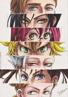 I tried a different format this time (with 7 pairs of eyes instead of no e . - Nantsu no taizai - Hand werk Otaku Anime, Anime Naruto, Manga Anime, Seven Deadly Sins Anime, 7 Deadly Sins, Seven Deadly Sins Tattoo, Anime Love, Kawaii Anime, Regard Animal