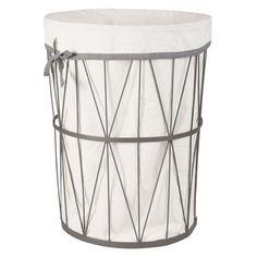 Laundry basket in black metal and ecru fabric