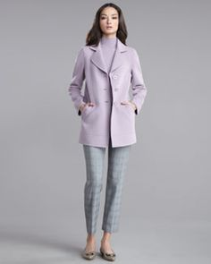 -3T5S St. John Collection Double-Face Cashmere Coat, Ultra-Fine Rib-Knit Sleeveless Shell & Emma Tattersal Plaid Pants