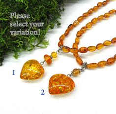 Natural Baltic Amber Romantic jewelry Heart pendant by SanaGem