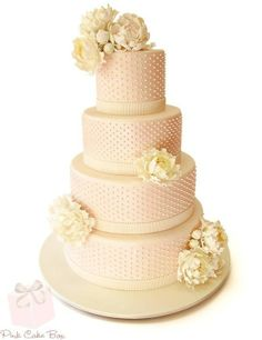 Swiss Dot And Peony Wedding Cake By Pink Box In Denville NJ