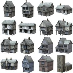model Low Polygon Medieval Buildings, available in OBJ, architectural, ready for animation and other projects Fantasy Village, Fantasy House, Classical Architecture, Architecture Design, Modelos Low Poly, Medieval Houses, Minecraft Medieval Buildings, Old Abandoned Houses, Building Concept